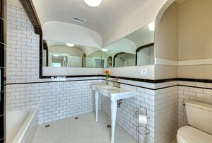 Bathroom of Charles Bukowski's childhood home in Los Angeles after renovation