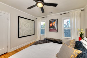 Bedroom of Charles Bukowski's childhood home in Los Angeles after renovation